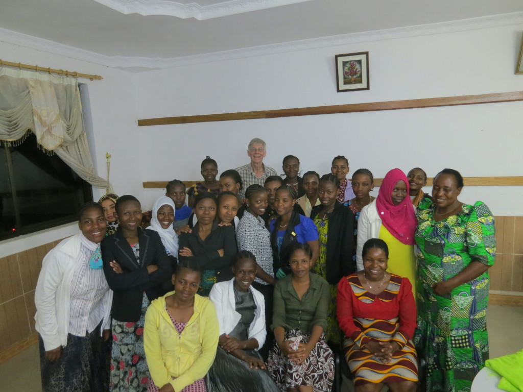 Tukuyu nursing students with Ellen (retired principal, standing on right) and Nolasca (current principal, seated on right)