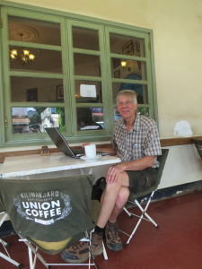 At the Union Cafe in Moshi on my last day in Tanzania